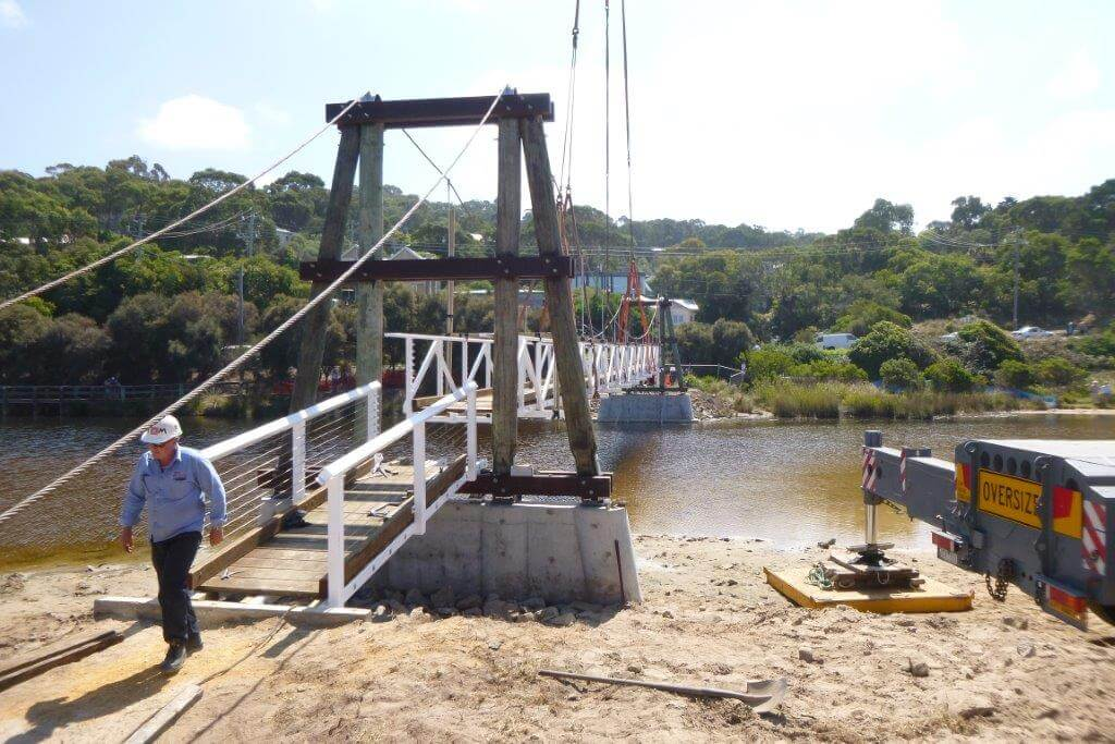 new steel bridge in lorne