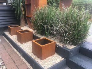 corten steel planters, corten garden