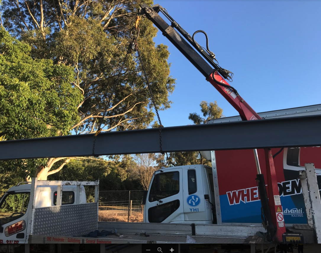 Structural steel beam being lifted in Ferntree Gully