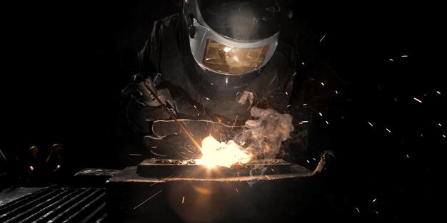 flux cored arc welding in progress