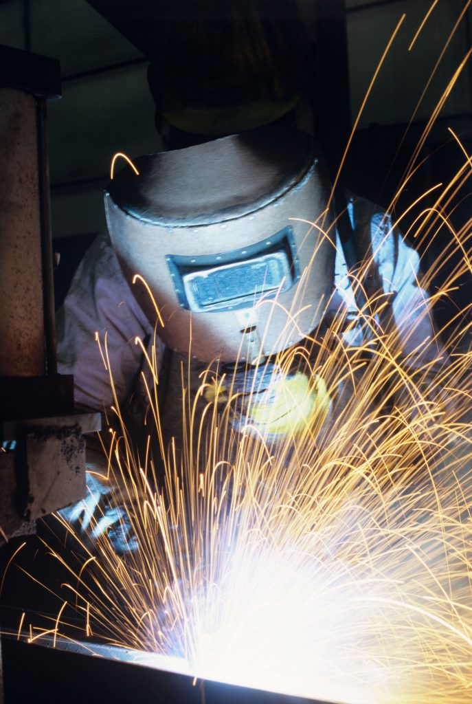 welding sparks, welding in progress