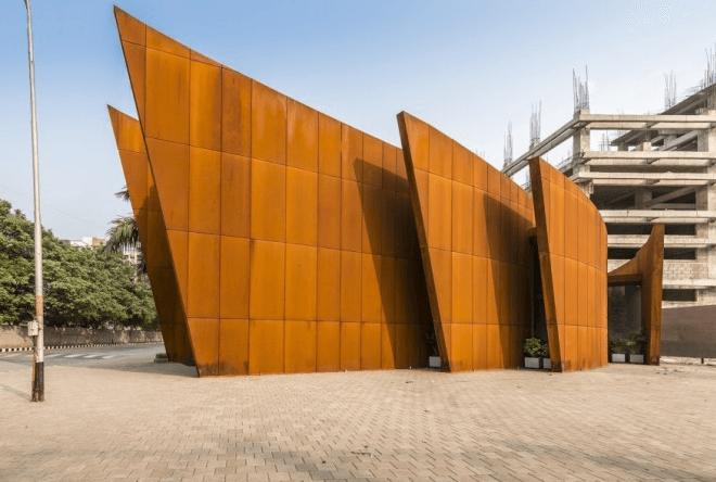weathering steel structure, corten steel building, corten feature, corten cladding